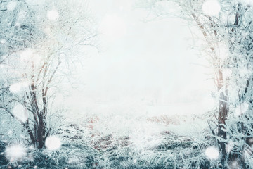 Winter day landscape with frozen tress and snow, outdoor nature background, frame