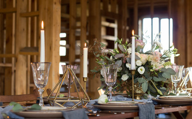 Wedding and decor. Wedding party.Candles and bouquet. Vintage Style.