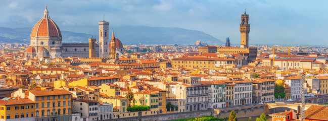 Beautiful landscape above, panorama on historical view of the Florence from  Piazzale Michelangelo point. Italy. Wall mural
