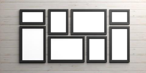 Black frames on wooden background. 3d illustration