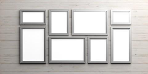 Silver frames on wooden background. 3d illustration