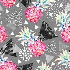 Printed kitchen splashbacks Watercolor Nature Watercolor pineapple and textured triangles seamless pattern.