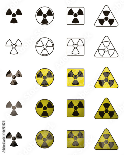 Set Of Icons With Sign Of Radiation Collection Of Hazard Symbols