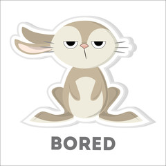 Isolated bored rabbit.