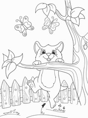 Childrens coloring cartoon animal friends in nature. Kitten and cat