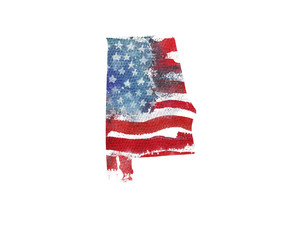 United States Of America. Watercolor texture of American flag. Alabama.