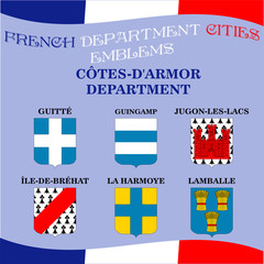 Official emblems of cities of French department Cotes D Armor