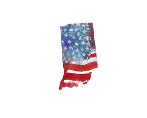 United States Of America. Watercolor texture of American flag. Indiana.