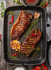 Grilled  strip steak with spices