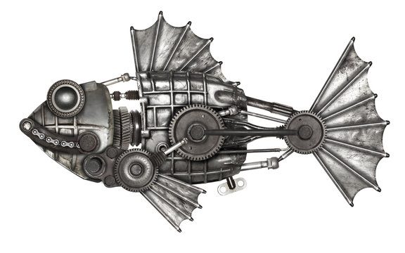 Steampunk style fish. Mechanical animal photo compilation