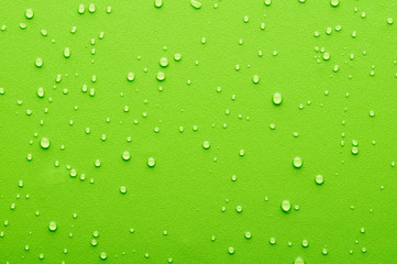 Water drops on a green background