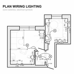 Plan wiring lighting. Electrical Schematic  interior. Set of standard icons switches, electrical symbols for blueprint.