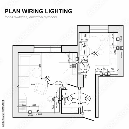 plan wiring lighting  electrical schematic interior  set of standard icons  switches, electrical symbols for blueprint