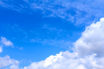 Blue sky background with white clouds and rain clouds on sunny summer or spring day.