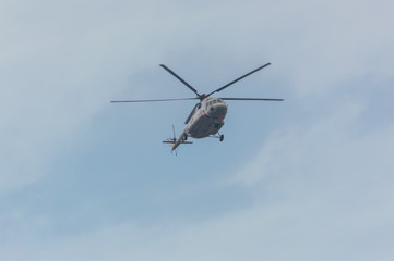 Garden Poster Helicopter Russia, Saint-Petersburg, July 30, 2017 - the day of the Navy in the sky mi-8