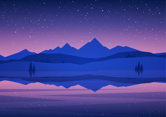 Fotobehang Snoeien Vector illustration: Night Mountains Lake landscape with pine, stars and reflection.