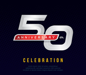 50 years anniversary invitation card, celebration template design, 50th. anniversary logo, dark blue background, vector illustration