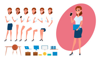 Business woman character creation set for animation. Parts body template. Different emotions, poses and  running, walking, standing, sitting.