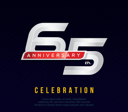 65 years anniversary invitation card, celebration template design, 65th. anniversary logo, dark blue background, vector illustration