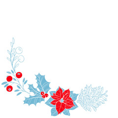Festive Christmas background with plants and a pine cone. Corner composition. Vector illustration can be greeting cards, invitations, and design element.