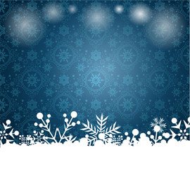 Christmas background, snow borders, blue color, vector image