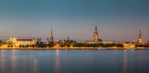 Wall Mural - Panoramic view of Riga's old town at sunset