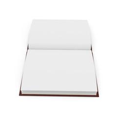Open notebook on white. 3D illustration