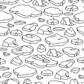 Cartoon hand drawn seamless pattern with sea ice. Outline polar drift ice isolated on white background.