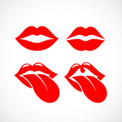 Red lips and mouth icon set