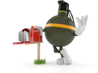 Hand grenade character with mailbox