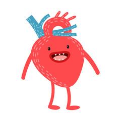 Cartoon human organs. Vector heart. Healthy and strong cute  heart. Cartoon anatomy