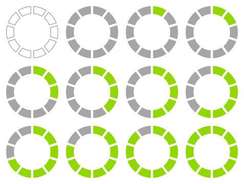 Set Pie Charts Percent Grey/Green