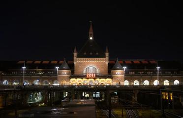 Copenhagen Central Station. Københavns Hovedbanegård. Evening.