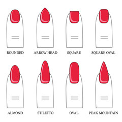 Vector illustration, different forms, shapes of nails. Manicure. Icon