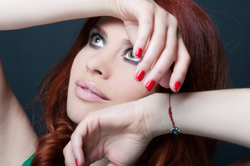 Seductive girl with stylish glamour makeup