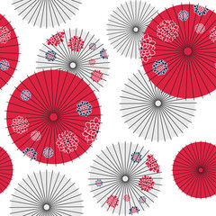 Japanese umbrella seamless pattern. Vector Illustration.