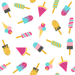 Ice cream seamless pattern on a white background. Vector illustration