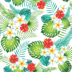 Tropical seamless pattern with exotic leaves and flowers. Vector illustration