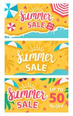 Summer sale banners set. Vector illustration