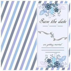 Hand drawn wedding invitation card, boho style, vector illustration