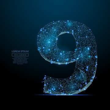 Abstract image of a number nine in the form of a starry sky or space, consisting of points, lines, and shapes in the form of planets, stars and the universe. Vector digit 9 wireframe concept.