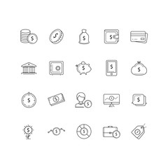 Set of 20 money and pyament thin line icons.