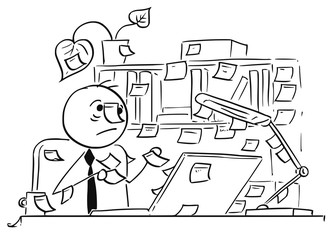 Cartoon Illustration of Office Worker with Stick Notes Everywhere Around