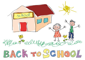 Back to school. Vector drawing made by a child, happy children