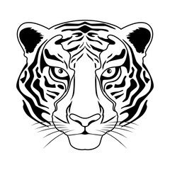 Tiger head vector illustration in black and white