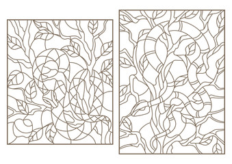 Set of contour illustrations of stained-glass windows with snakes on trees