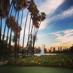 Sunset in Echo Park near downtown Los Angeles