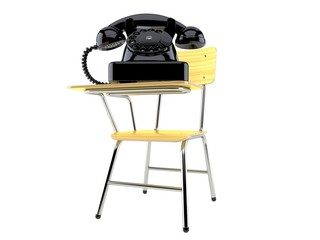 Telephone with school chair