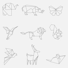 Vector illustration of line origami animals