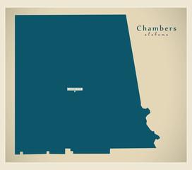 Modern Map - Chambers Alabama county USA illustration
